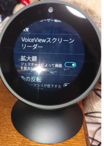 Echo Spotのユーザー補助設定画面